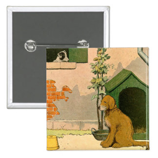 Golden Retriever and Jack Russel Terrier 2 Inch Square Button