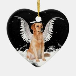 Golden Retriever Angel Dog Heart Ceramic Ornament