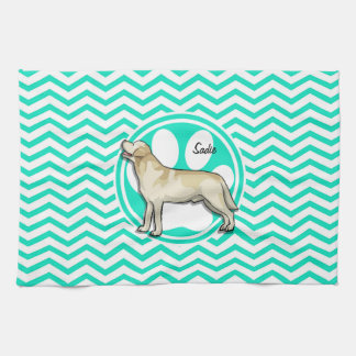 Golden Retriever; Aqua Green Chevron Kitchen Towel