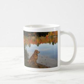 Golden Retriever Autumn at the Lake Coffee Mug