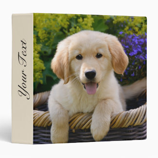 Golden Retriever Baby Dog Puppy Funny Pet Photo - Vinyl Binders