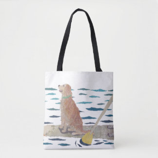 Golden Retriever, Beach Dog, Paddle Board Tote Bag
