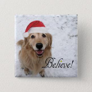 Golden Retriever Believe Christmas 2 Inch Square Button