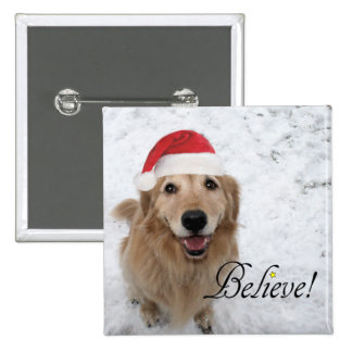 Golden Retriever Believe Christmas 2 Inch Square Button