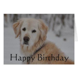 Golden Retriever Birthday In The Snow Card