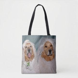 Golden Retriever Brides Tote Bag