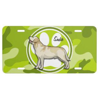 Golden Retriever; bright green camo, camouflage License Plate
