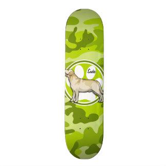 Golden Retriever; bright green camo, camouflage Custom Skateboard