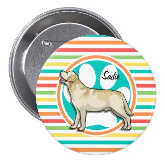 Golden Retriever; Bright Rainbow Stripes 3 Inch Round Button