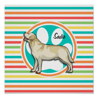 Golden Retriever Bright Rainbow Stripes Posters