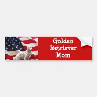 Golden Retriever Bumper Sticker American Mom Car Bumper Sticker