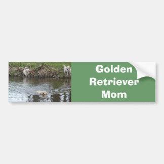 Golden Retriever Bumper Sticker Pups At Lake Car Bumper Sticker