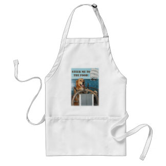 Golden Retriever Captain Steering to the Food Standard Apron