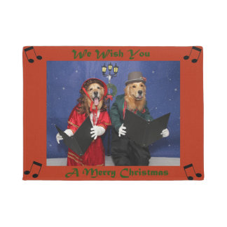 Golden Retriever Carolers Sing Merry Christmas Doormat
