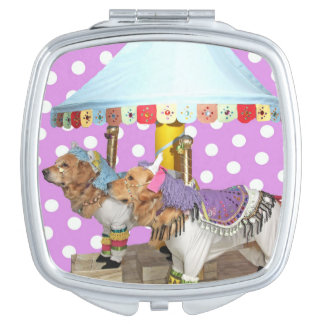 Golden Retriever Carousel Compact Mirror
