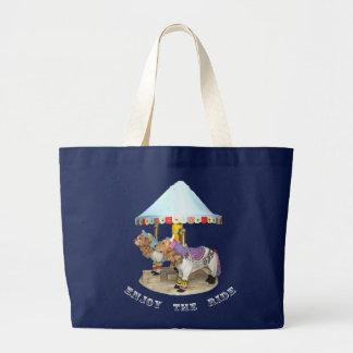 Golden Retriever Carousel Enjoy the Ride Large Tote Bag