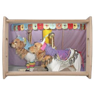 Golden Retriever Carousel Horses Serving Tray