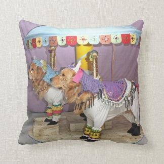 Golden Retriever Carousel Throw Pillow