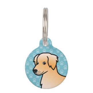 Golden Retriever Cartoon Dog Pet Tag