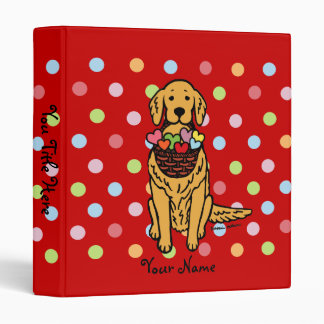 Golden Retriever Cartoon Polka Dot Binders