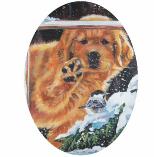 golden retriever chickadee Christmas Ornament Photo Sculpture Ornament