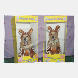 Golden Retriever Chocolate Rabbits in Boxes Kitchen Towel