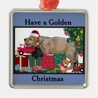Golden Retriever Christmas Metal Ornament