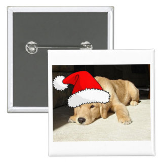 Golden Retriever Christmas Puppy 2 Inch Square Button