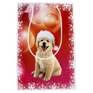 Golden retriever Christmas puppy Medium Gift Bag