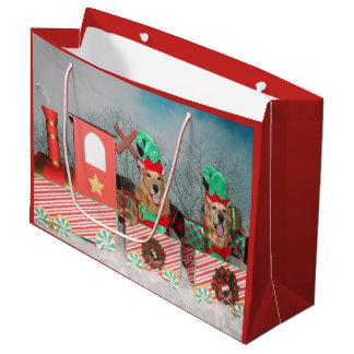 Golden Retriever Christmas Train Large Gift Bag