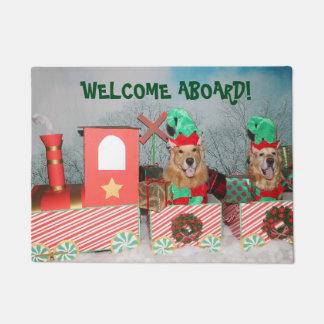 Golden Retriever Christmas Train Welcome Aboard Doormat