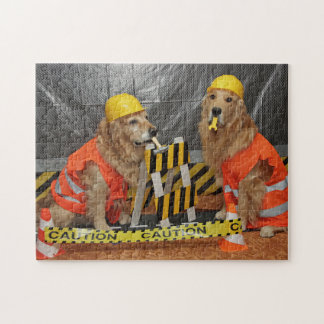 Golden Retriever Construction Workers Jigsaw Puzzle