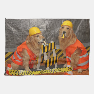 Golden Retriever Construction Workers Kitchen Towel
