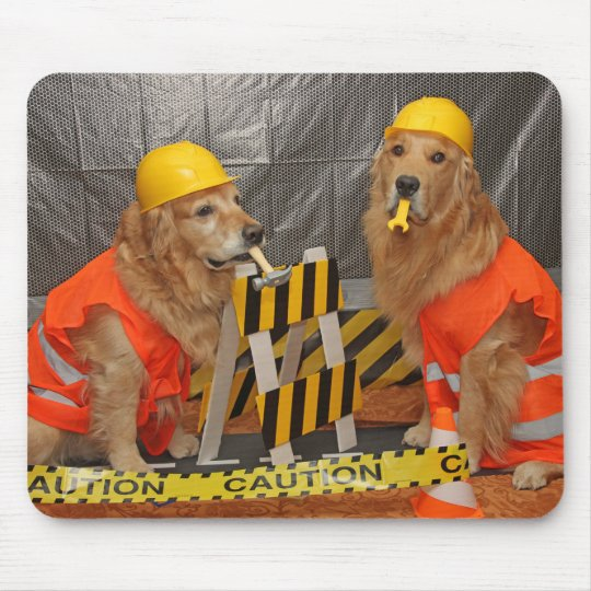 Golden Retriever Construction Workers Mouse Pad