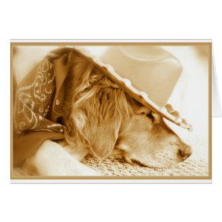 Golden Retriever Cowboy Card