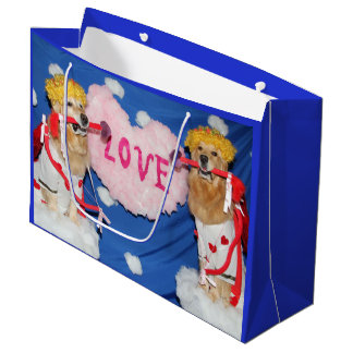 Golden Retriever Cupids of Love Large Gift Bag