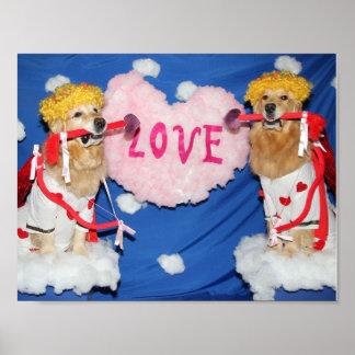 Golden Retriever Cupids of Love Poster