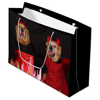 Golden Retriever Devils in Flames Large Gift Bag