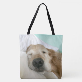 Golden Retriever Dog Asleep on Pillow Tote Bag