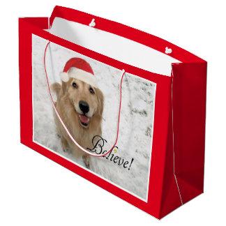 Golden Retriever Dog Believe Christmas Large Gift Bag