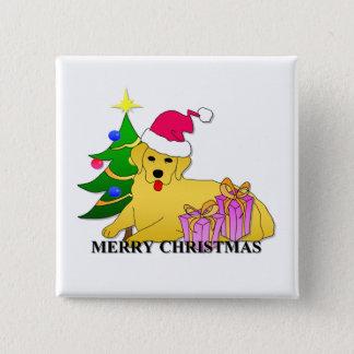 Golden Retriever Dog Christmas 2 Inch Square Button