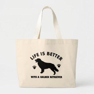 golden-retriever dog design large tote bag