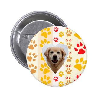 Golden Retriever Dog Hearts Paws Print 2 Inch Round Button