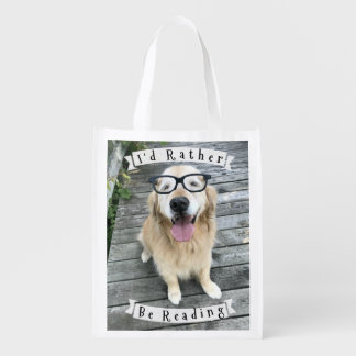 Golden Retriever Dog I'd Rather Be Reading Grocery Bags