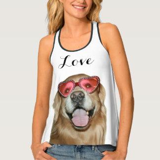 Golden Retriever Dog in Heart Sunglasses Love Tank Top