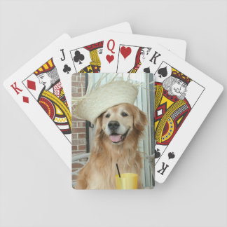 Golden Retriever Dog in Straw Hat Summer Playing Cards