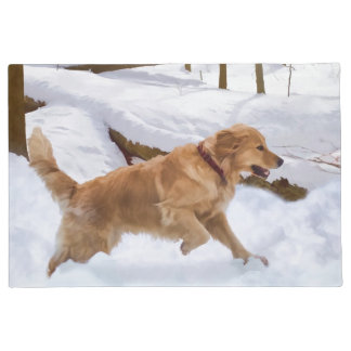 Golden Retriever Dog in the Snow Doormat