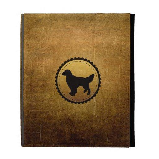 Golden Retriever Dog Medallion on Bronze iPad Folio Case