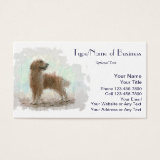 Golden Retriever Dog on Beach Impressionist Art Business Card