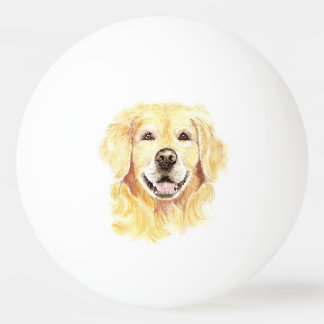 Golden Retriever Dog Pet Animal watercolor Ping Pong Ball